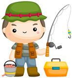 Fisherman. A vector of a fisherman with his fishing rod vector illustration
