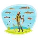 Vector fisherman man fishing and fish catch. Fisherman or fisher man fishing with fish catch species. Vector man in rubber boots with fish catch on rod hook of Royalty Free Stock Images
