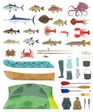 Vector fisherman man tools fishing tackles icons. Fisherman tools and fishing tackles icons. Vector isolated equipment set of fisher boat, tent and fishing net stock illustration