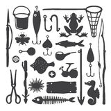Vector fisherman monochrome handdrawn objects & items set Royalty Free Stock Photo