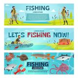 Vector fisherman sport fishing vector banners. Fishing sport banners design of fisherman on fishing with rod in inflatable boat. Vector flat design of fisher Stock Photo