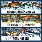 Vector fisherman sport fishing club sketch banners. Fishing sport club sketch banners of fishing equipment. Vector design of fish catch trout, marlin or pike stock illustration