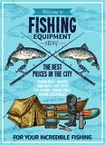 Vector fisherman sport fishing equipement poster. Fishing store sketch poster design of fisherman equipment for fishing. Vector fisher rod and inflatable boat or vector illustration