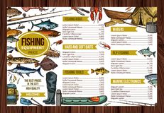 Vector fisherman sport fishing equipement price. Fishing store sketch price list design of fisherman equipment tools for fishing. Vector fisher rod and Stock Image