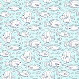 Vector fishes pattern. Hand drawn sea life vector seamless pattern. Adult or kids coloring book page Stock Image