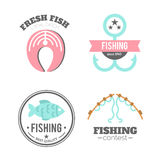 Vector fishing badges. Logo elements. Paddles illustration. Royalty Free Stock Image
