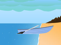 Vector fishing boat on a sandy beach and sea. Vector illustration of a fishing boat on a sandy beach and sea. The concept of fishing on a boat in cloudy weather Royalty Free Stock Photos