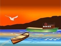 Vector Fishing Boats Royalty Free Stock Image