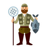 Vector Fishing concept. Fisherman with big fish. Flat style colorful Cartoon illustration. Royalty Free Stock Images