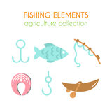 Vector fishing elements. Boat with paddles illustration. Salmon steak. Fishing rod in cartoon style. Flat argiculture Royalty Free Stock Image
