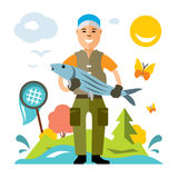 Vector Fishing. Fisherman with big fish. Flat style colorful Cartoon illustration. vector illustration