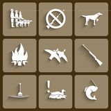 Vector fishing and hunting  icons Royalty Free Stock Photos