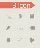Vector fishing icon set Royalty Free Stock Photo