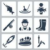 Vector fishing icons set. Fish on a hook, float, big fish, fishing rod, fisherman, wading boots, spoon-bait, lake, worm on a hook Royalty Free Stock Photography