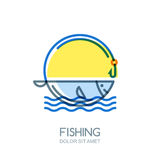 Vector fishing logo, label, badge or emblem design elements. Royalty Free Stock Photo