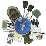 Vector Fishing Tackle with Compass Royalty Free Stock Images