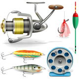 Vector Fishing Tackle. On white background Royalty Free Stock Photos