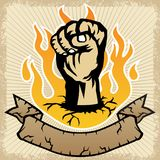 Vector of fist on flame with banner. Symbol of resistance. Vector cartoon illustration, no mesh, vector on eps 10 Royalty Free Stock Images