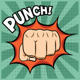 Vector fist punching illustration in pop-art style. Royalty Free Stock Images