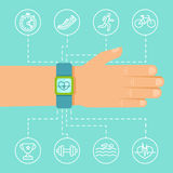 Vector fitness app and tracker on the wrist Stock Image