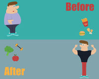 Vector of fitness and eat clean food before and after. Royalty Free Stock Images