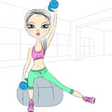 Vector fitness girls lifting dumbbells in the gym Stock Photo