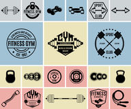 Vector Fitness and Gym Icons and Labels Templates Royalty Free Stock Photo