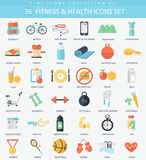 Vector fitness and health Flat icon set. Elegant style design Royalty Free Stock Photography