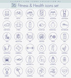 Vector fitness and health Outline icon set. Elegant thin line style design Royalty Free Stock Photos