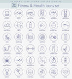 Vector fitness and health outline icon set. Elegant thin line style design Stock Image