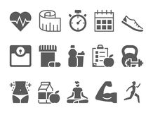 Vector fitness health and sport icons set Royalty Free Stock Images