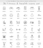 Vector fitness and health ultra modern outline line icons for web and apps. Royalty Free Stock Photo