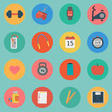 Vector of Fitness icon set flat design Stock Photo