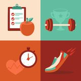 Vector fitness icons in flat trendy style Royalty Free Stock Photo