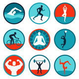 Vector fitness icons and signs. Jogging, swimming Royalty Free Stock Image