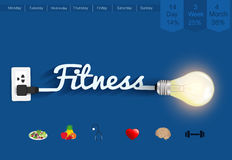 Vector fitness ideas concept creative light bulb design Royalty Free Stock Photos