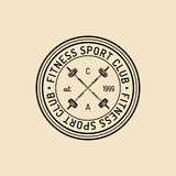 Vector fitness logo. Hand sketched athletic barbell illustration. Gym emblem, badge, sports complex sign, club icon. Stock Photography