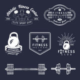 Vector fitness logos set. Hand sketched athletic signs. Gym emblems illustration. Sporting club icons for badges etc. Royalty Free Stock Photography