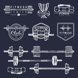 Vector fitness logos set. Hand sketched athletic signs. Gym emblems illustration. Sporting club icons for badges etc. Stock Photography