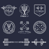 Vector fitness logos set. Hand sketched athletic signs. Gym emblems illustration. Sporting club icons for badges etc. Stock Image