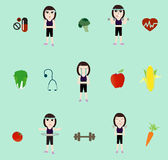 Vector fitness woman and diet Stock Photos