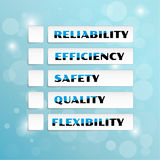Vector with five priorities of quality. With green marked symbols Royalty Free Stock Image