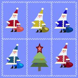 Vector Five Santa Clauses and Christmas tree Royalty Free Stock Photos