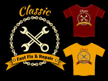 Vector Fix and Repair T-Shirt Template Design. Vector Mechanic Fast Fix and Repair T-Shirt Template Design   on Black Background Royalty Free Stock Photography