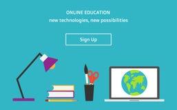 Vector flache Art, die on-line-Bildungsnetzfahne mit sich Knopf anmelden Stockbild