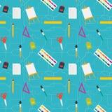 Vector flache Artbildungskunstwerkzeuge und nahtloses Muster des Schulbedarfs Lizenzfreie Stockbilder