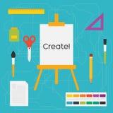 Vector flache Artbildungskunstwerkzeuge und -Schulbedarf: Gestell, Bürsten, Bleistift, Farbe, Machthaber, Scheren, Tintenfass Lizenzfreies Stockbild