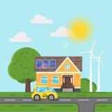 Vector flache Artillustration des Elektroautos und des Hauses mit Sonnenkollektoren Stockfotografie