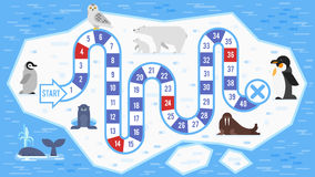 Vector flache Artillustration Kinderdes arktischen Tier-Brettspiels vektor abbildung