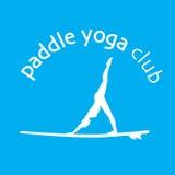 Vector flache Designartillustration von stehen oben padlle Yoga Lizenzfreies Stockfoto